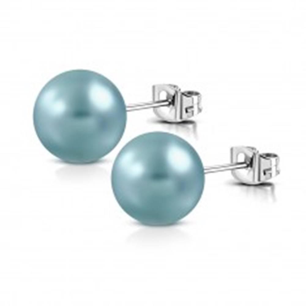 Šperky eshop Oceľové náušnice - syntetická perlička tyrkysovej farby, puzetové zapínanie