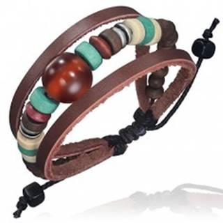 Trojitý kožený náramok - kožené pásy, šnúrka, guľka