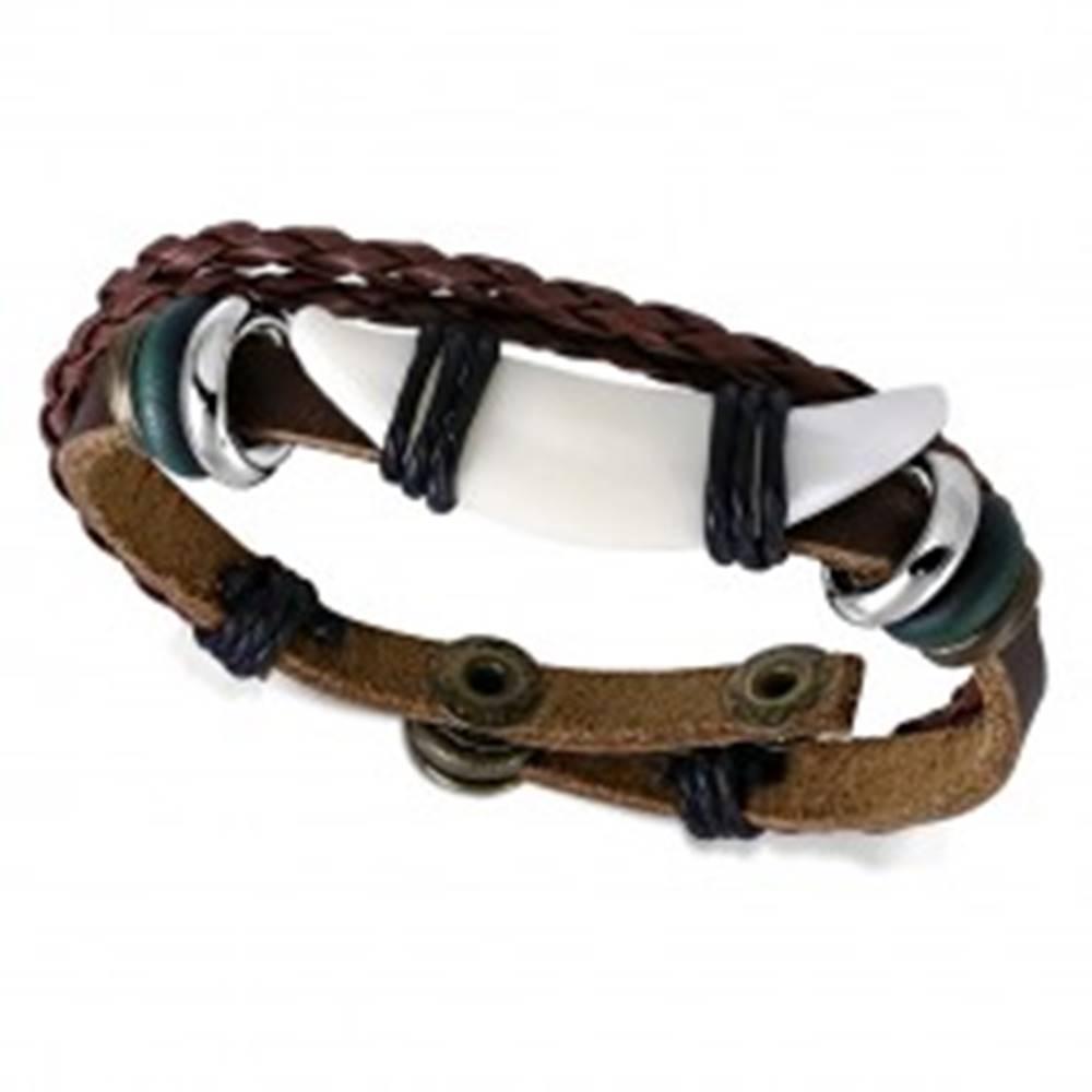 Šperky eshop Kožený multináramok, pletence, biely roh, kruhy, šnúrky