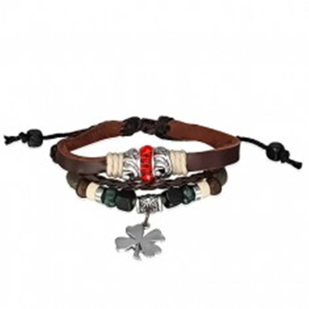 Šperky eshop Kožený náramok - prepletané šnúrky, červený zirkónový prstenec, štvorlístok