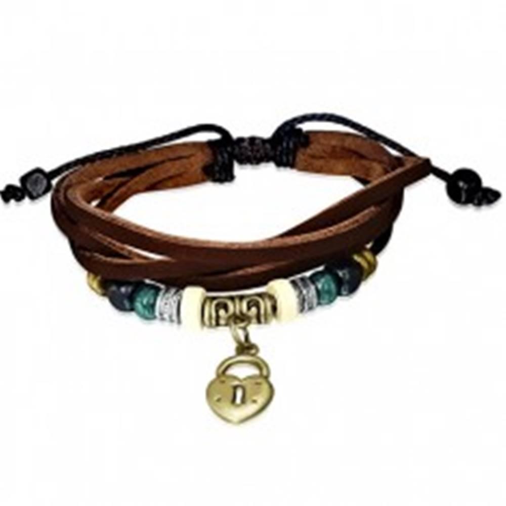 Šperky eshop Multi náramok z kože - hnedé pásy, šnúrka, visiaci zámok