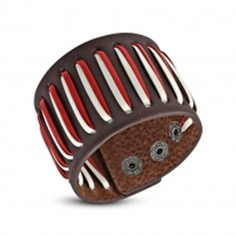 Šperky eshop Prešívaný koženkový náramok, šnúrky - biela a červená