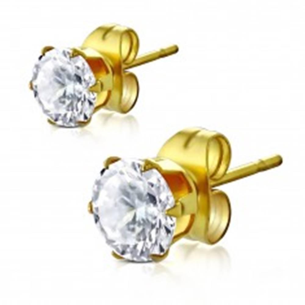 Šperky eshop Puzetové náušnice z ocele zlatej farby, číry okrúhly zirkón, 4 mm