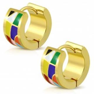 Kĺbové náušnice z ocele 316L zlatej farby, farebné glazúrované útvary