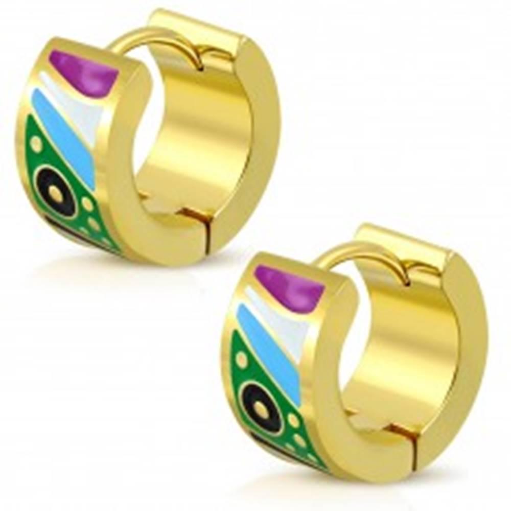 Šperky eshop Kĺbové oceľové náušnice zlatej farby, glazúrované útvary v pestrých farbách