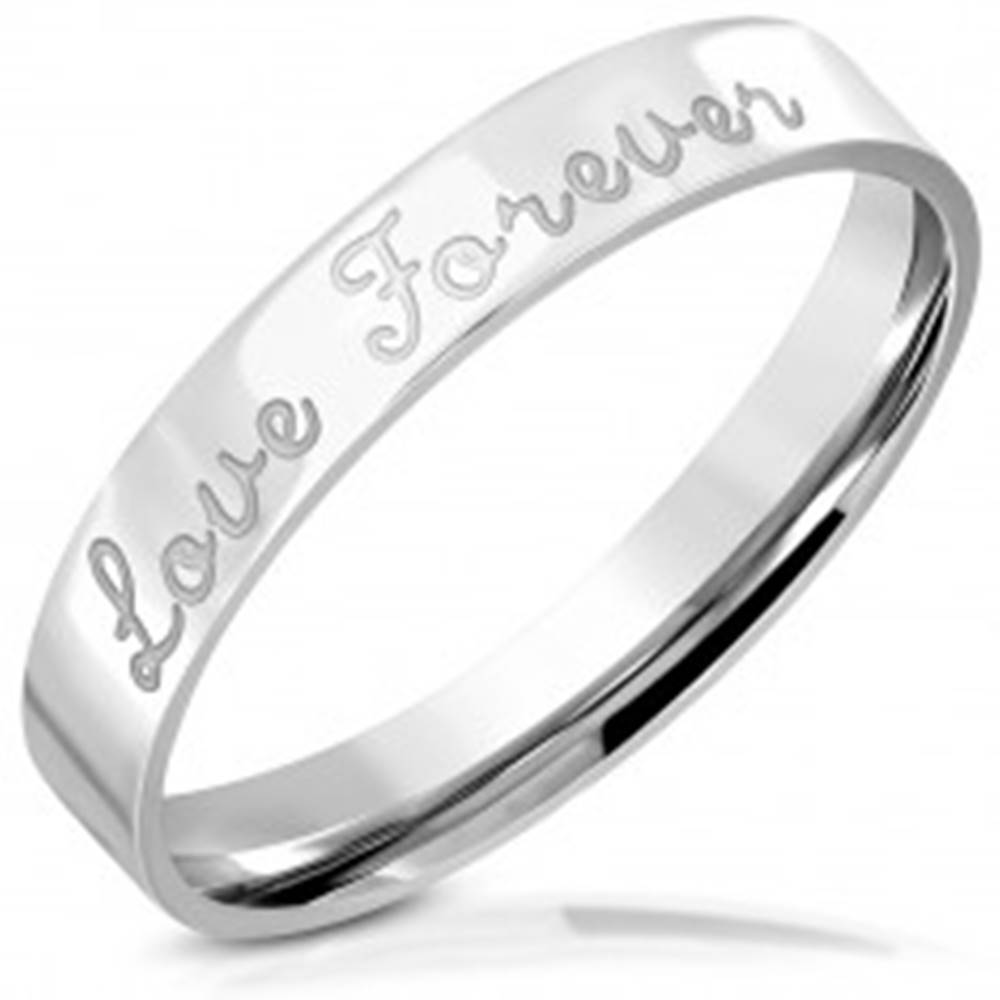 """Šperky eshop Lesklá oceľová obrúčka s gravírovaním, nápis """"Love Forever"""", 3,5 mm - Veľkosť: 46 mm"""