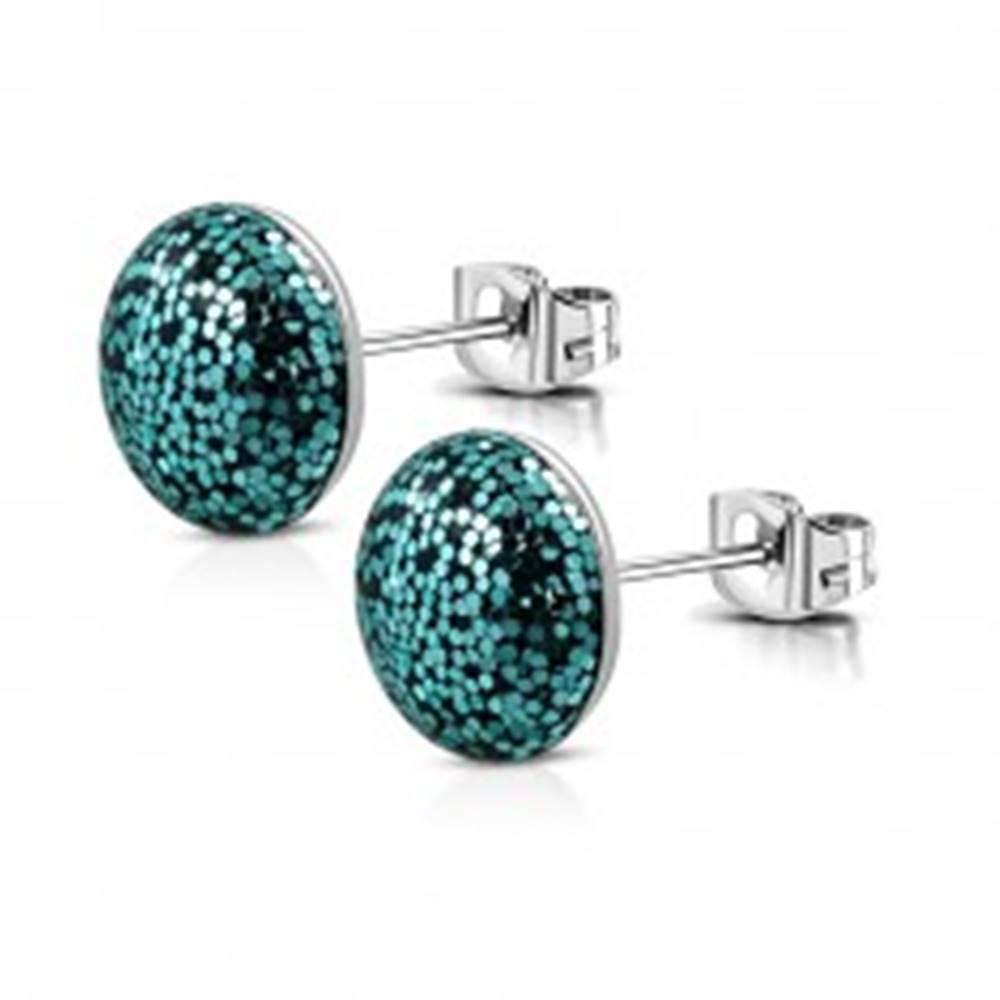 Šperky eshop Náušnice z chirurgickej ocele - modrozelené trblietky v krúžku, puzetky