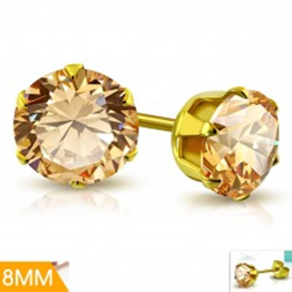 Šperky eshop Náušnice z chirurgickej ocele zlatej farby, svetlooranžový zirkón v kotlíku, 8 mm