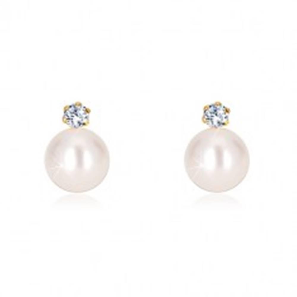 Šperky eshop Náušnice zo žltého zlata 585 - biela okrúhla perla, číry brúsený zirkón, puzetky