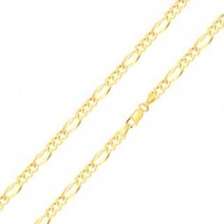 Retiazka zo žltého 14K zlata - podlhovasté očko so širšími okrajmi, tri oválne očká, 500 mm