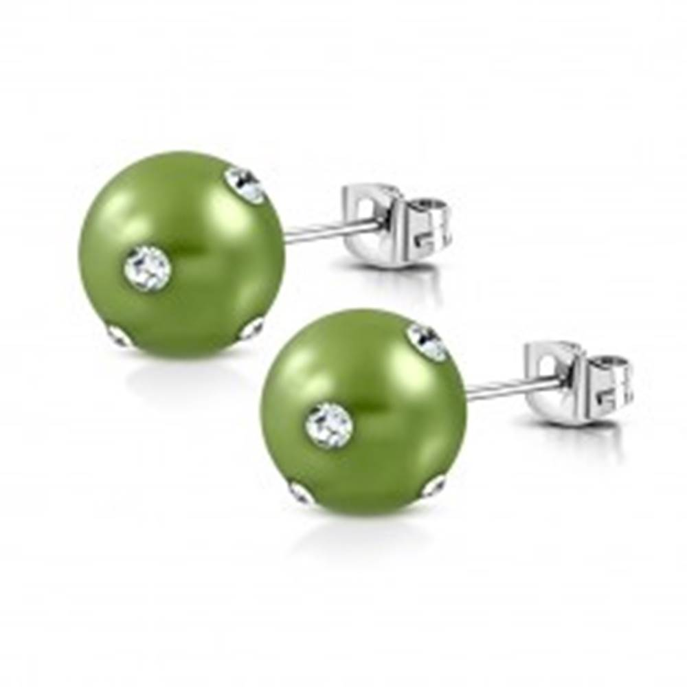 Šperky eshop Oceľové náušnice - syntetická akrylová perla v svetlozelenom odtieni, zirkóny