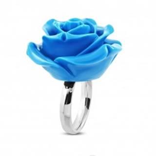 Prsteň z chirurgickej ocele - ruža v rozkvete, lesklá modrá živica - Veľkosť: 49 mm