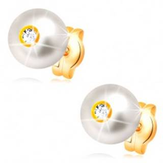 Zlaté 14K náušnice - smotanovo biela perla s ligotavým čírym zirkónom, 6 mm