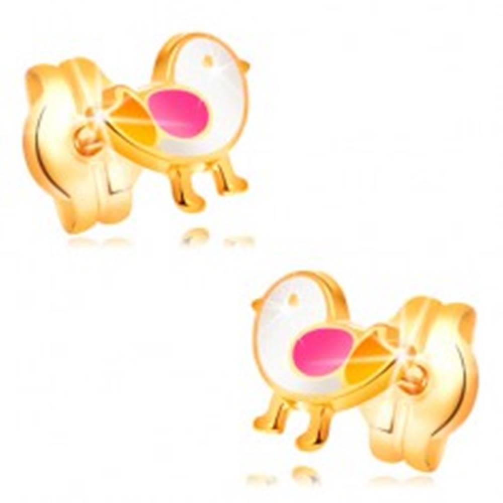 Šperky eshop Náušnice zo žltého zlata 14K - vtáčik zdobený bielou, ružovou a žltou glazúrou