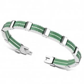 Dvojfarebný oceľový náramok - viacdielne články, gumené pásiky zelenej farby