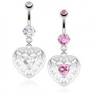 Oceľový piercing do pupku, obrys srdca s výrezmi, zirkónové srdiečko - Farba zirkónu: Číra - C