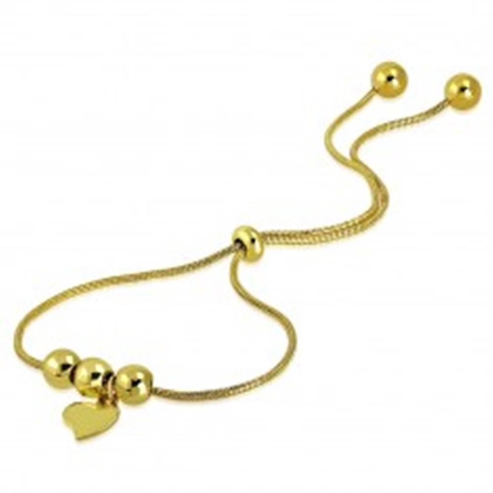 Šperky eshop Oceľový náramok zlatej farby - nepravidelné srdiečko, guličky, vzor hadej kože