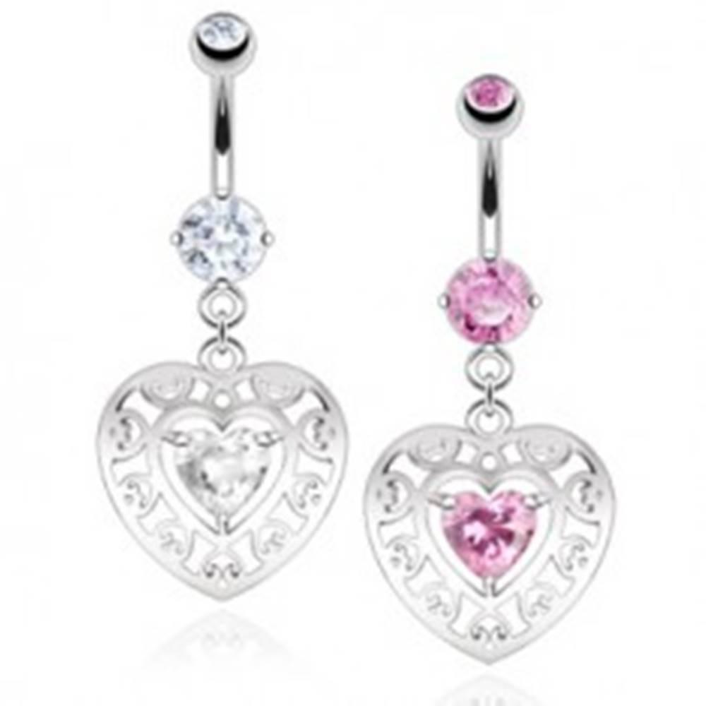 Šperky eshop Oceľový piercing do pupku, obrys srdca s výrezmi, zirkónové srdiečko - Farba zirkónu: Číra - C