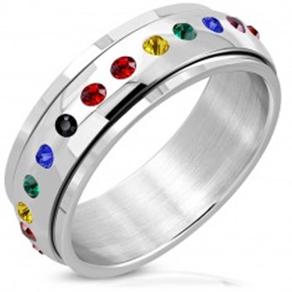 Šperky eshop Lesklý oceľový prsteň - otáčavý stred, zirkóny vo farbách dúhy - Veľkosť: 52 mm