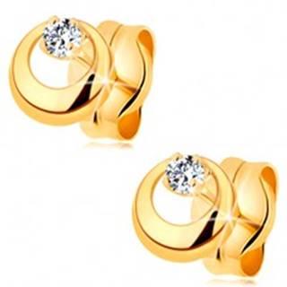Náušnice v žltom 14K zlate - vypuklý kruh s výrezom a čírym zirkónom