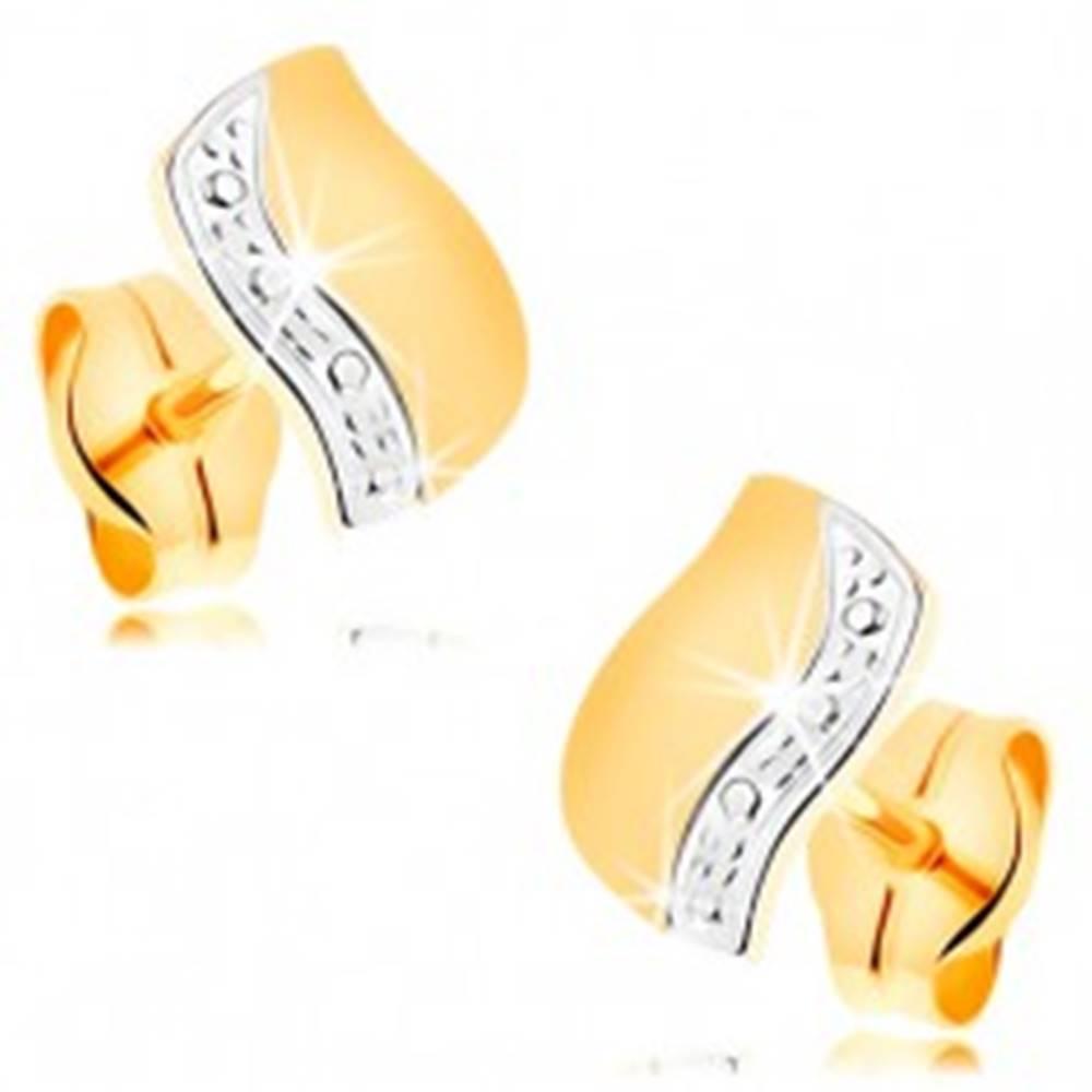 Šperky eshop Náušnice v 14K zlate - dvojfarebná vlnka s líniou drobných bodiek