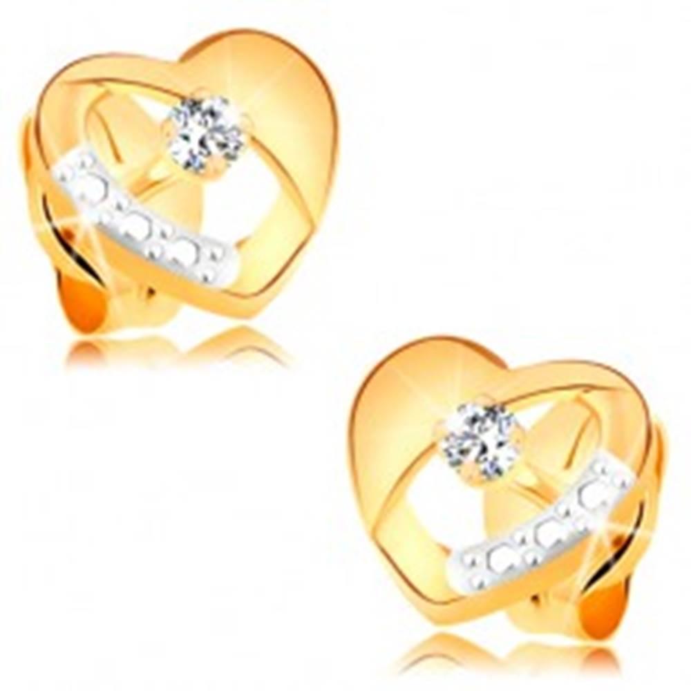 Šperky eshop Náušnice zo 14K zlata - súmerné dvojfarebné srdiečko s výrezom a čírym zirkónom
