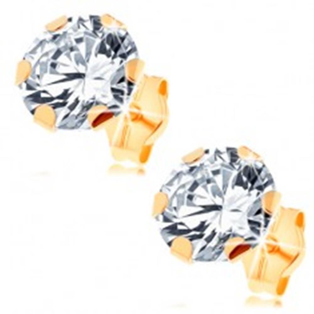 Šperky eshop Náušnice zo žltého 14K zlata - veľký číry zirkón uchytený šiestimi paličkami, 7 mm