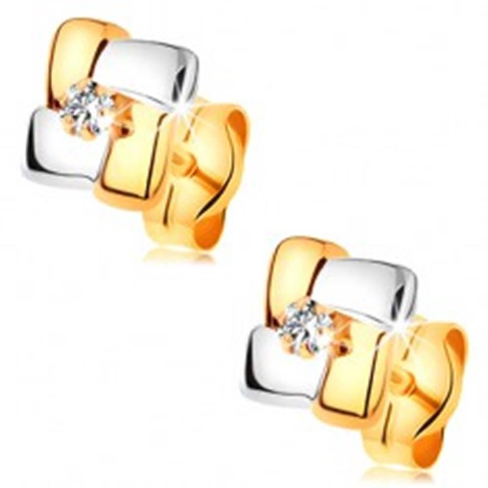 Šperky eshop Zlaté náušnice 585 - štvorec z dvojfarebných pásov, okrúhly číry zirkónik v strede