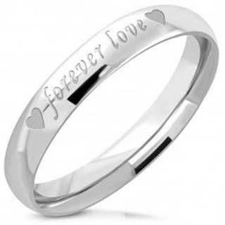"""Oceľový prsteň striebornej farby - lesklý povrch, matný nápis """"forever love"""", 3,5 mm - Veľkosť: 47 mm"""