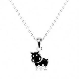 Strieborný 925 náhrdelník - hrošík zdobený čiernou glazúrou, ligotavá retiazka