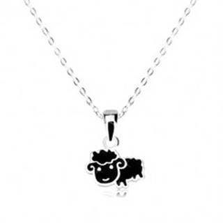 Strieborný náhrdelník 925 - čierna ovca, ligotavá retiazka z oválnych očiek