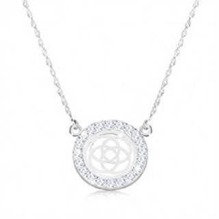 Strieborný náhrdelník 925 - štvorcípy keltský uzol v zirkónovom kruhu, jemná retiazka