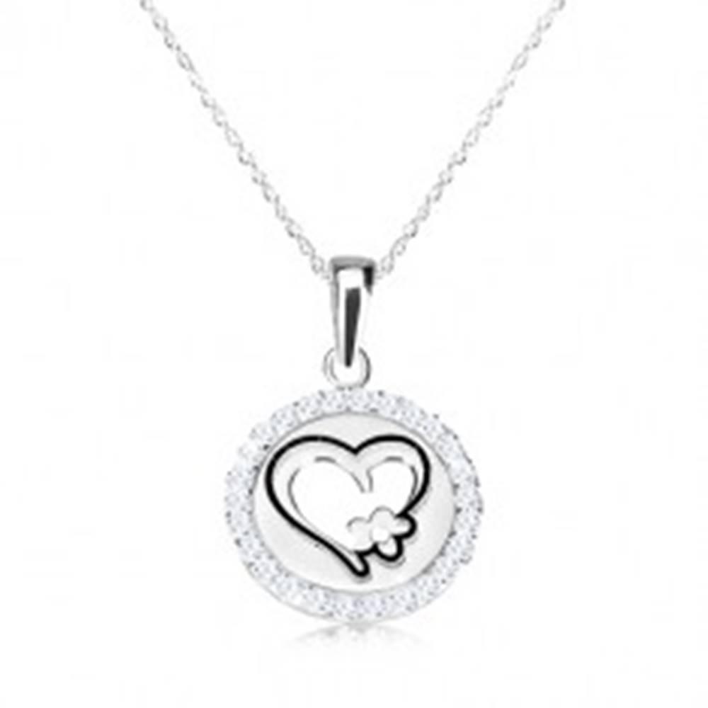 Šperky eshop Náhrdelník zo striebra 925 - okrúhly prívesok so srdcom a kvietkom, jemná retiazka