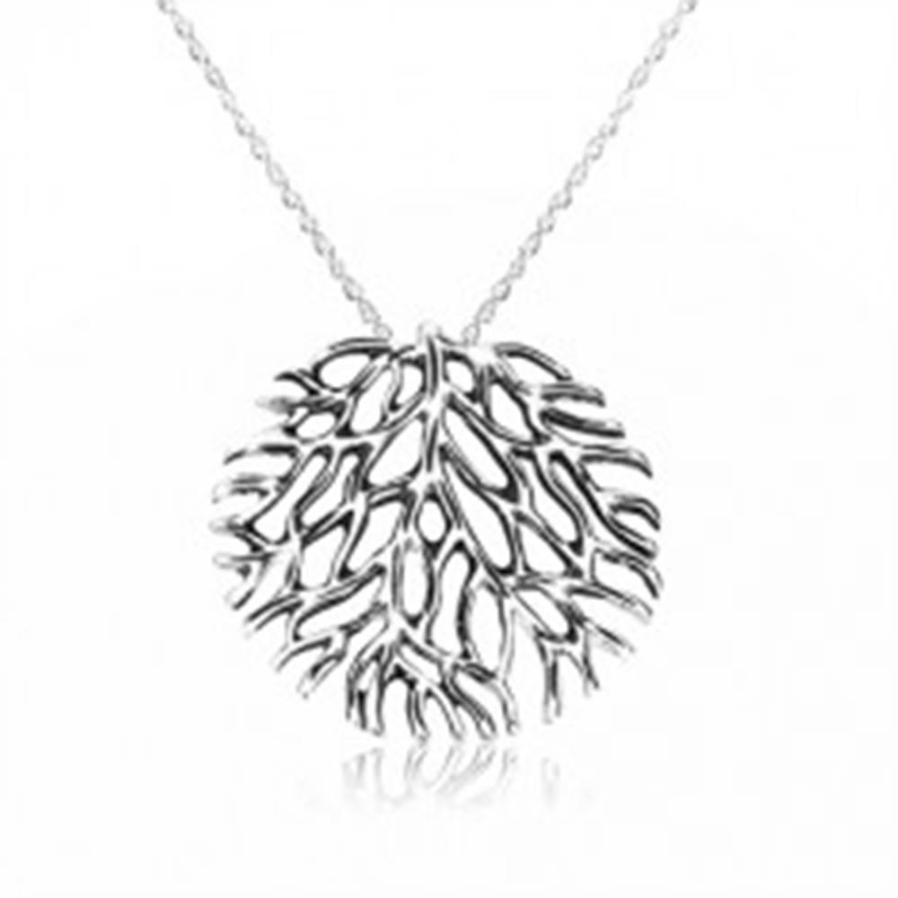 Šperky eshop Náhrdelník zo striebra 925 - rozkonárený koral s patinou, špirálovitá retiazka