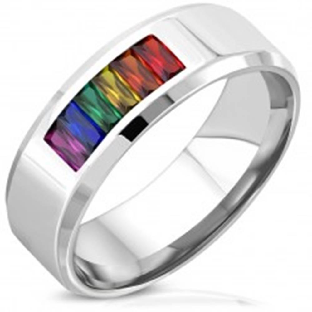 Šperky eshop Obrúčka striebornej farby z chirurgickej ocele - PRIDE FLAG, zaoblené skosené hrany, 8 mm - Veľkosť: 52 mm