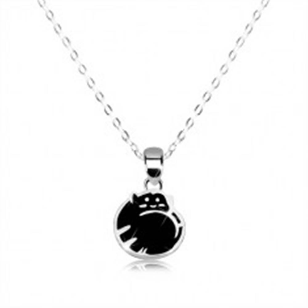 Šperky eshop Strieborný náhrdelník 925 - mačička v klbku, čierna glazúra, lesklá retiazka