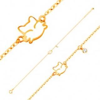 Náramok v žltom zlate 585, prívesky - zirkón a biela glazúrovaná mačička