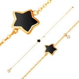 Náramok zo žltého 14K zlata, prívesky - hviezda s čiernou glazúrou, zirkón
