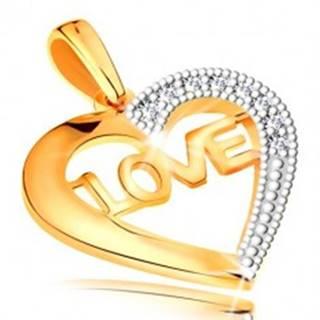 Prívesok v 14K zlate - kontúra srdca s nápisom v strede a zirkónikmi
