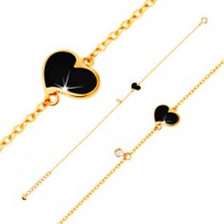 Zlatý náramok 585 - čierne asymetrické srdce a číry zirkónik, tenká retiazka, 180 mm