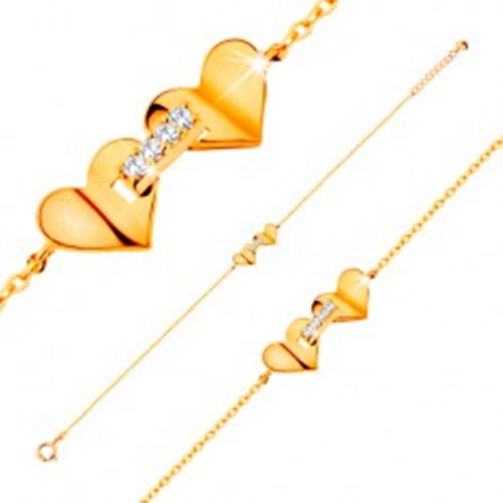 Šperky eshop Náramok zo žltého 14K zlata - srdiečka spojené pásom zirkónov, tenká retiazka