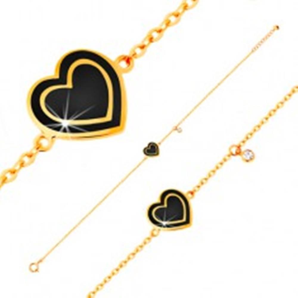 Šperky eshop Náramok zo žltého zlata 585, prívesky - zirkónik a srdce s čiernou glazúrou