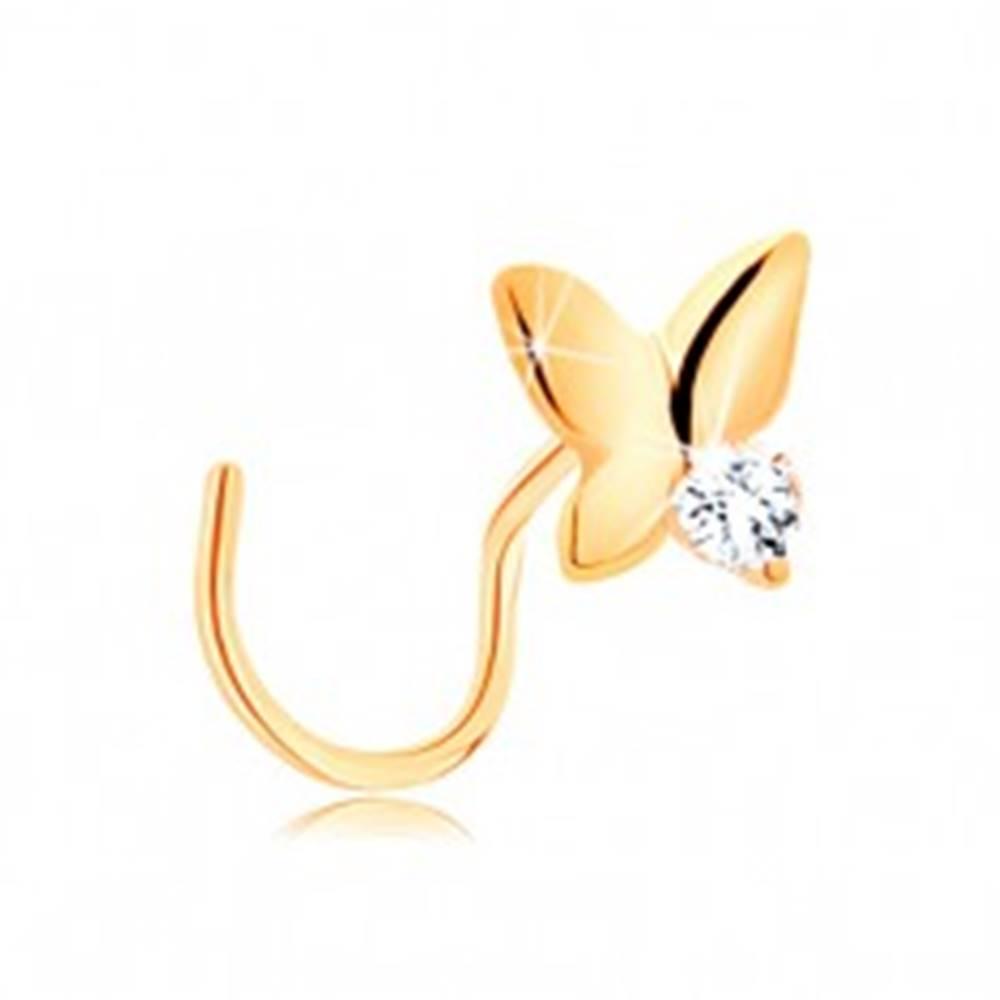 Šperky eshop Piercing do nosa v žltom 14K zlate - malý motýľ s čírym zirkónom