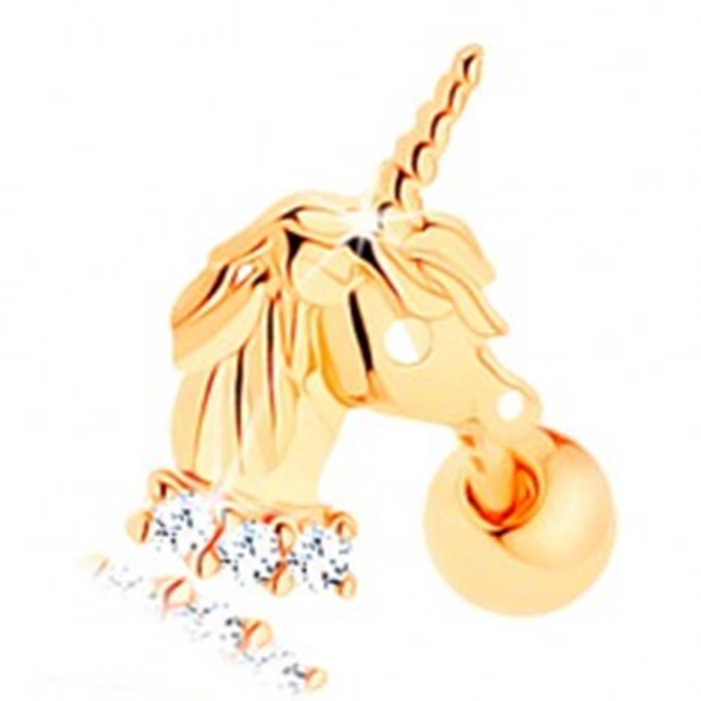 Šperky eshop Piercing do ucha v žltom 14K zlate - jednorožec, línia čírych zirkónikov