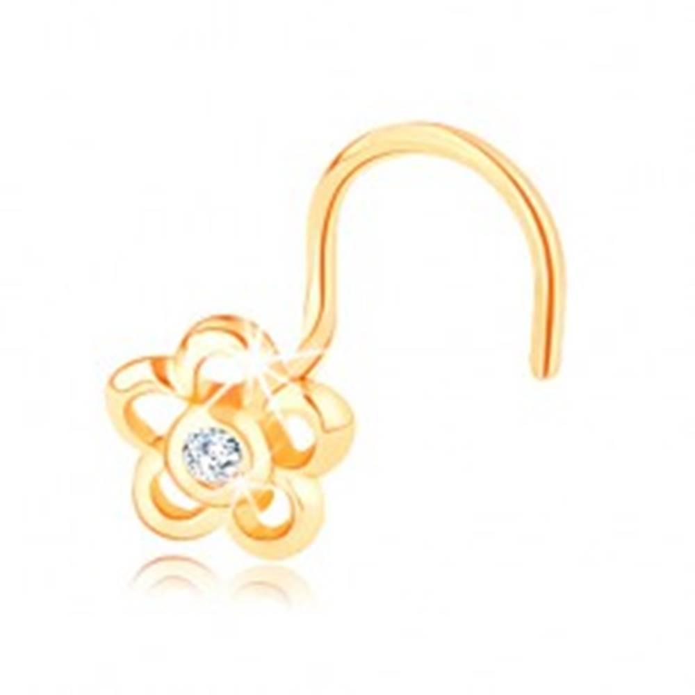 Šperky eshop Piercing zo žltého 14K zlata - kontúra kvetu s čírym zirkónikom v strede