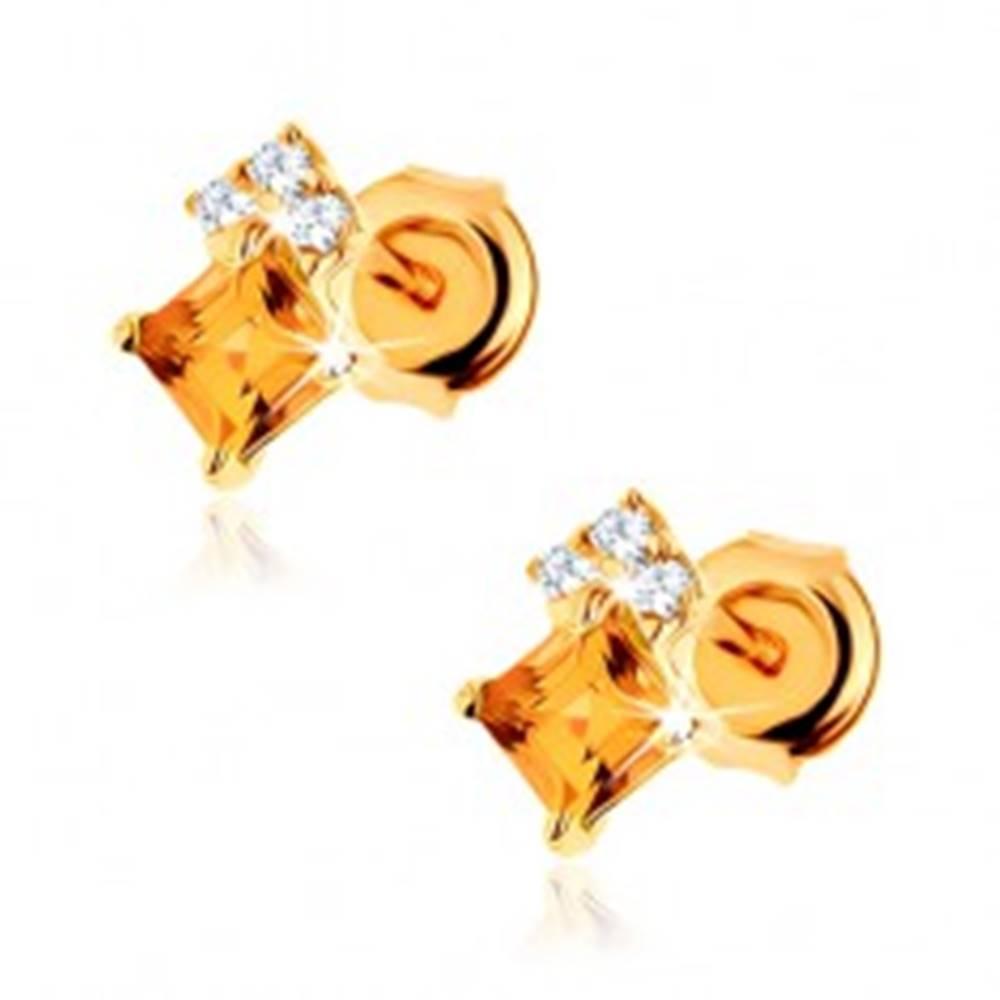Šperky eshop Puzetové náušnice v žltom 9K zlate - štvorcový žltý citrín, zirkóny čírej farby