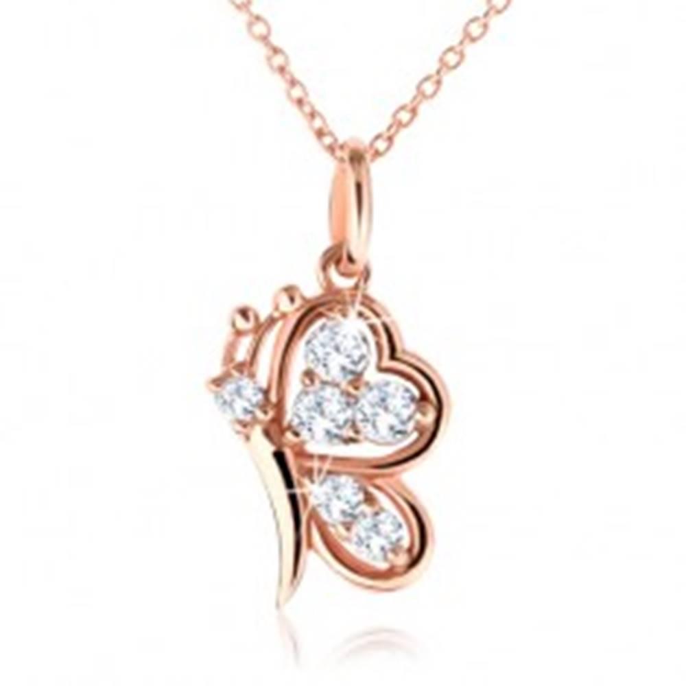 Šperky eshop Strieborný náhrdelník 925, motýlik medenej farby s čírymi zirkónmi