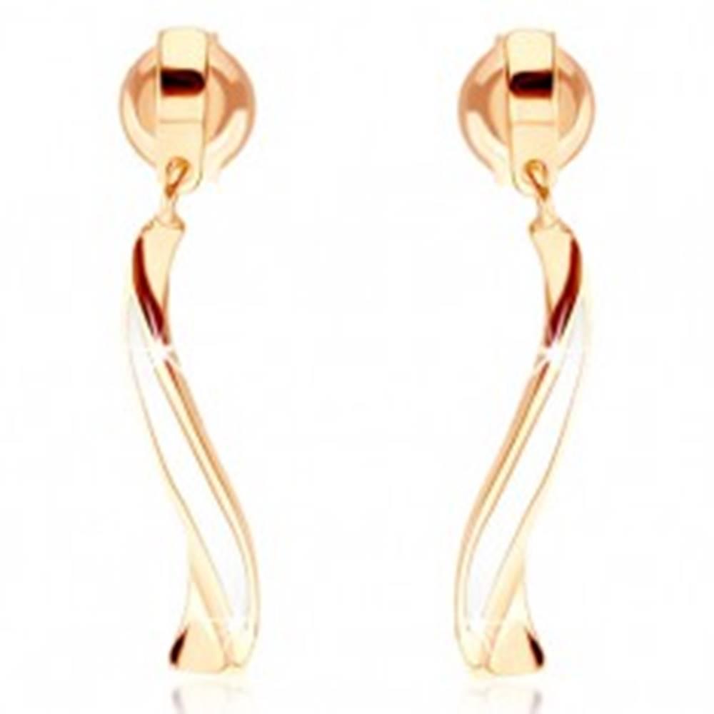 Šperky eshop Zlaté náušnice 585 - zvlnená línia zdobená bielou glazúrou, puzetky