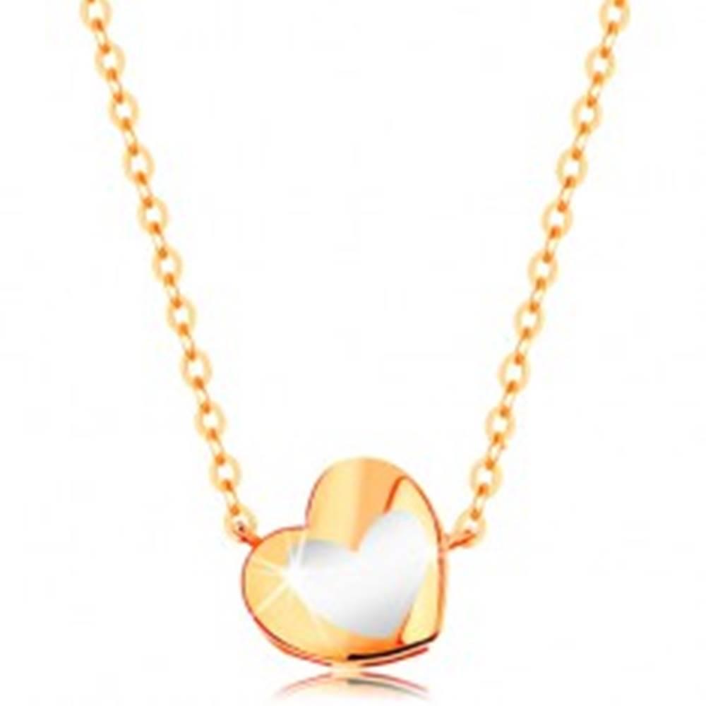 Šperky eshop Zlatý náhrdelník 585 - lesklé srdiečko s bielou glazúrou, retiazka