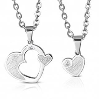 Oceľový prívesok pre dvoch - dve srdcia s kvietkami, zirkón